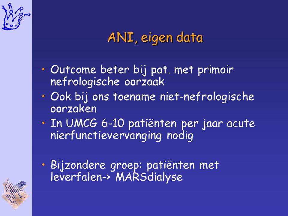 ANI, eigen data Outcome beter bij pat. met primair nefrologische oorzaak. Ook bij ons toename niet-nefrologische oorzaken.