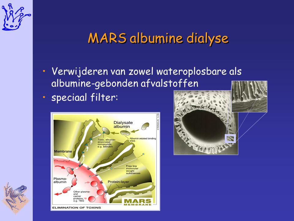 MARS albumine dialyse Verwijderen van zowel wateroplosbare als albumine-gebonden afvalstoffen.