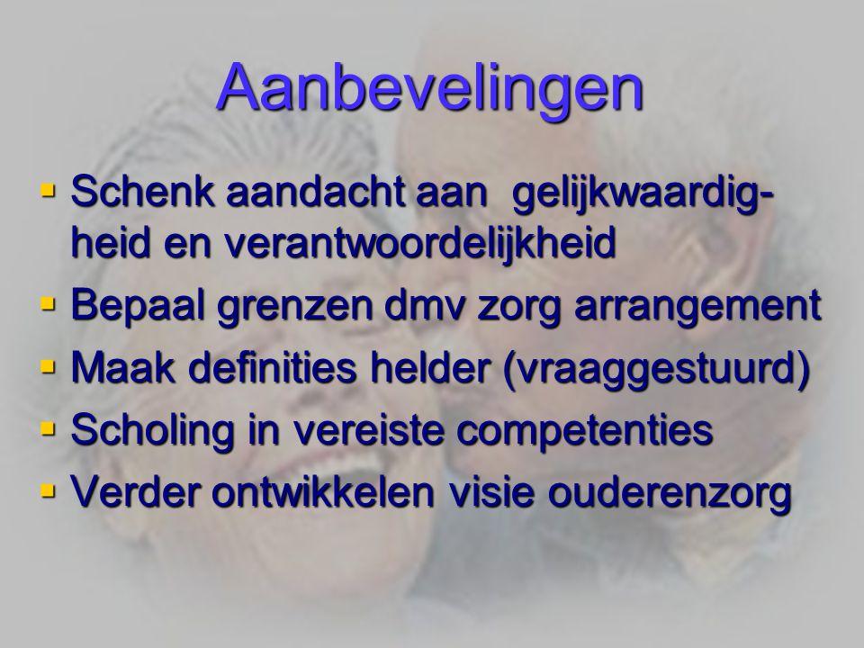 Aanbevelingen Schenk aandacht aan gelijkwaardig- heid en verantwoordelijkheid. Bepaal grenzen dmv zorg arrangement.