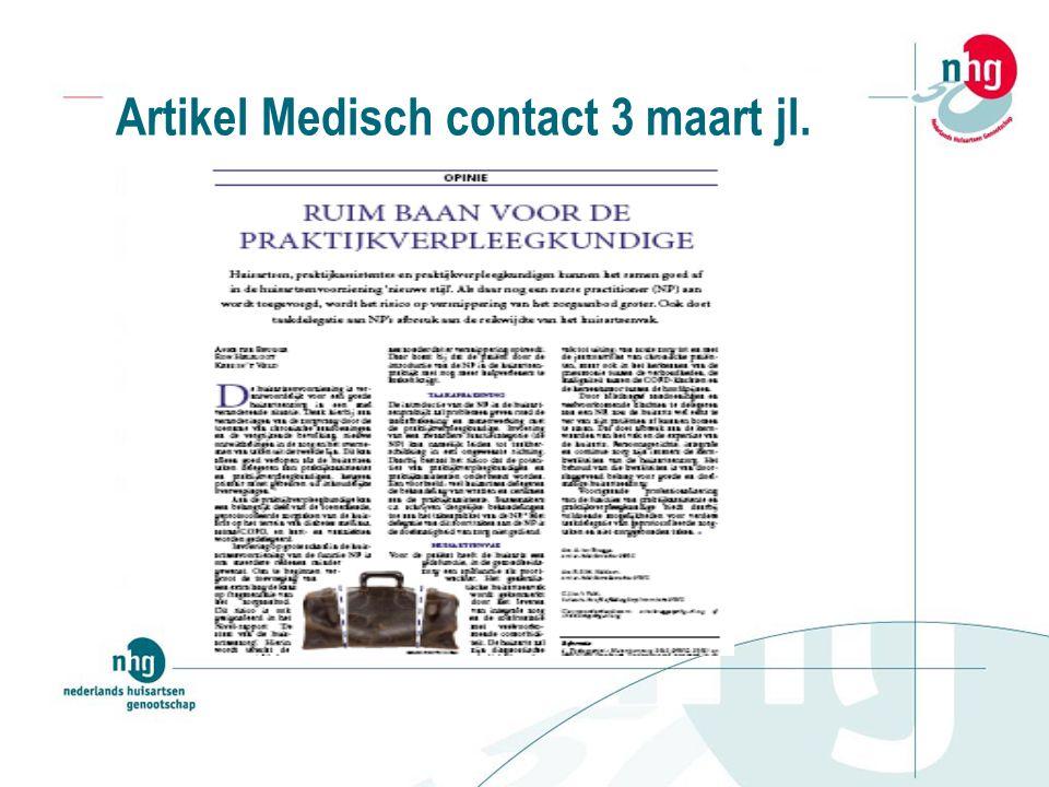 Artikel Medisch contact 3 maart jl.