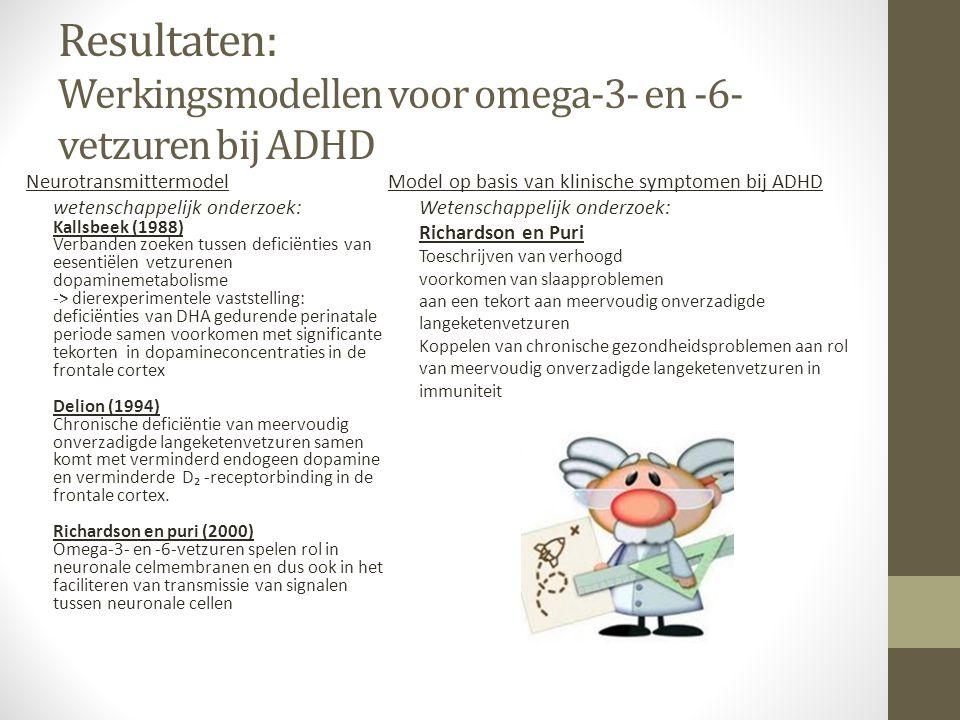 Resultaten: Werkingsmodellen voor omega-3- en -6-vetzuren bij ADHD