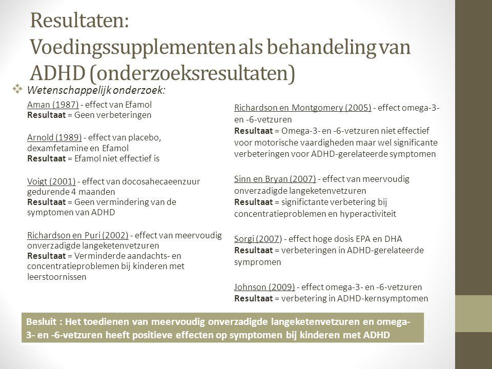 Resultaten: Voedingssupplementen als behandeling van ADHD (onderzoeksresultaten)