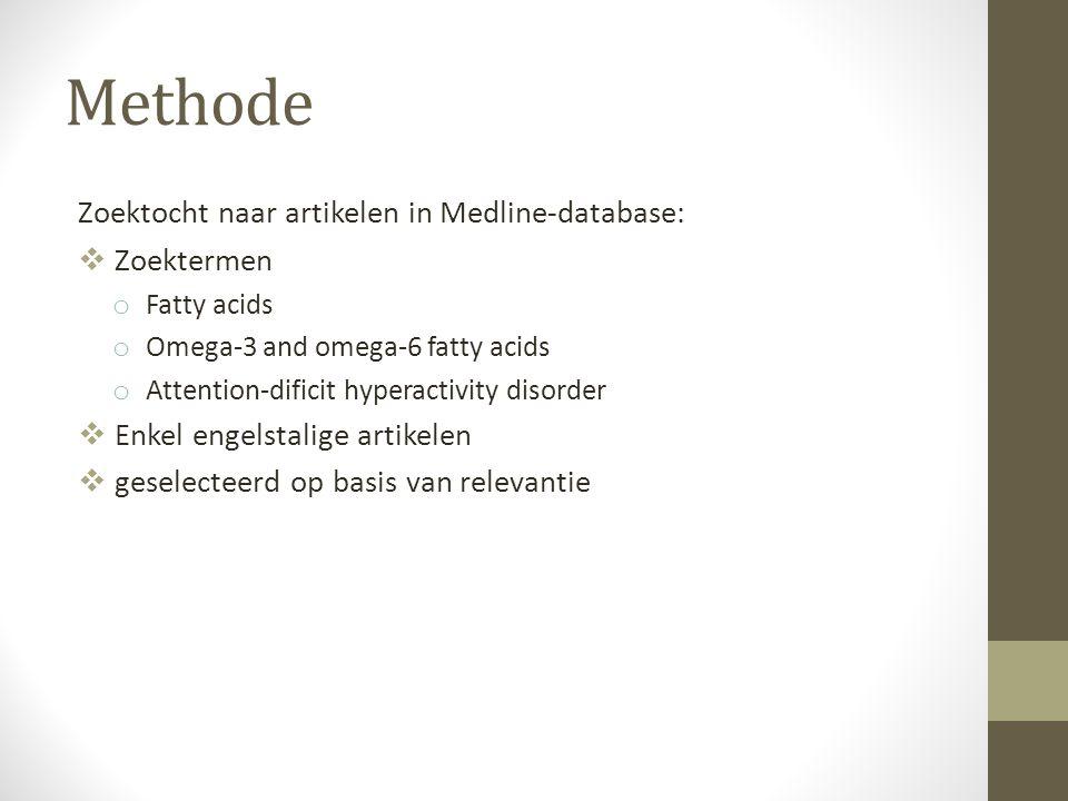 Methode Zoektocht naar artikelen in Medline-database: Zoektermen
