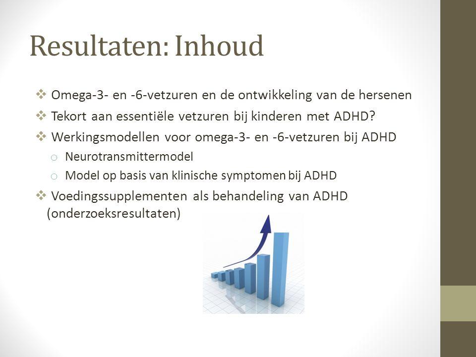 Resultaten: Inhoud Omega-3- en -6-vetzuren en de ontwikkeling van de hersenen. Tekort aan essentiële vetzuren bij kinderen met ADHD