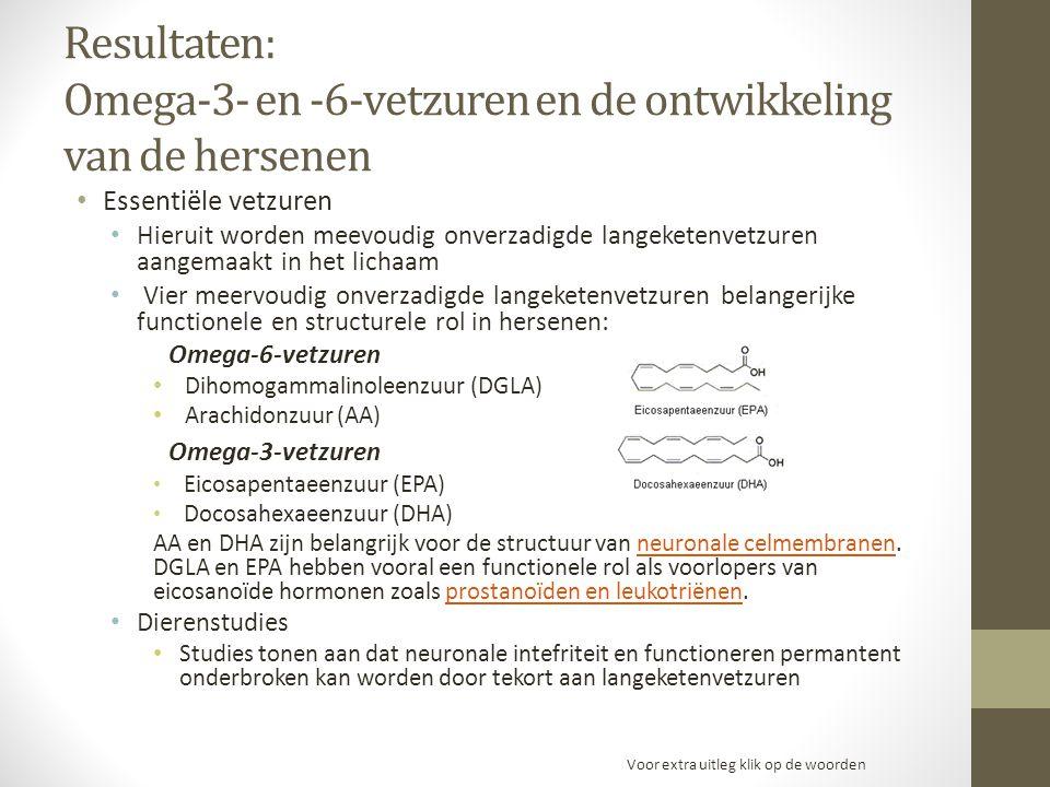 Resultaten: Omega-3- en -6-vetzuren en de ontwikkeling van de hersenen