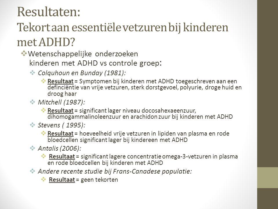 Resultaten: Tekort aan essentiële vetzuren bij kinderen met ADHD