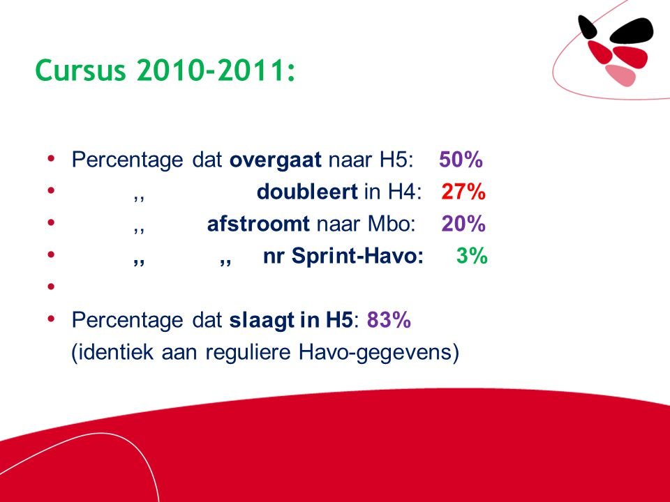 Cursus 2010-2011: Percentage dat overgaat naar H5: 50%