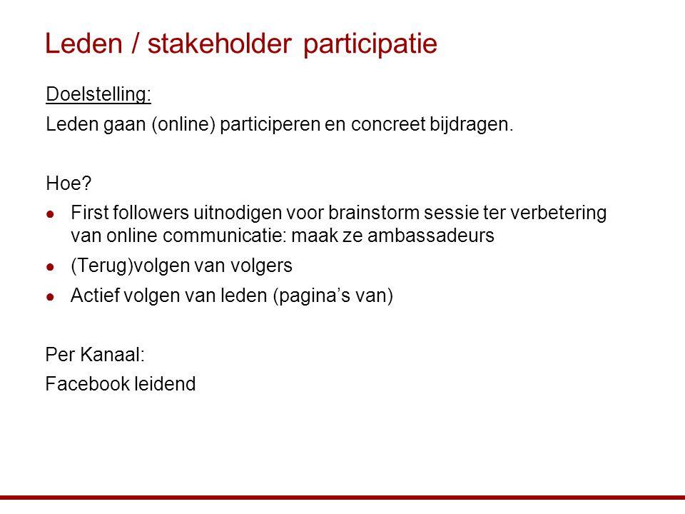 Leden / stakeholder participatie