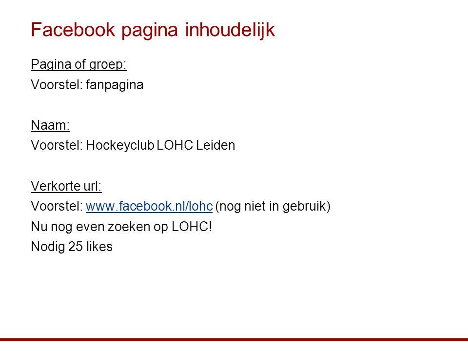 Facebook pagina inhoudelijk