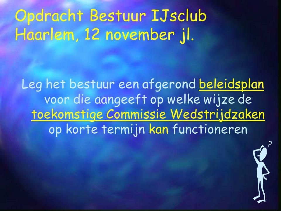 Opdracht Bestuur IJsclub Haarlem, 12 november jl.
