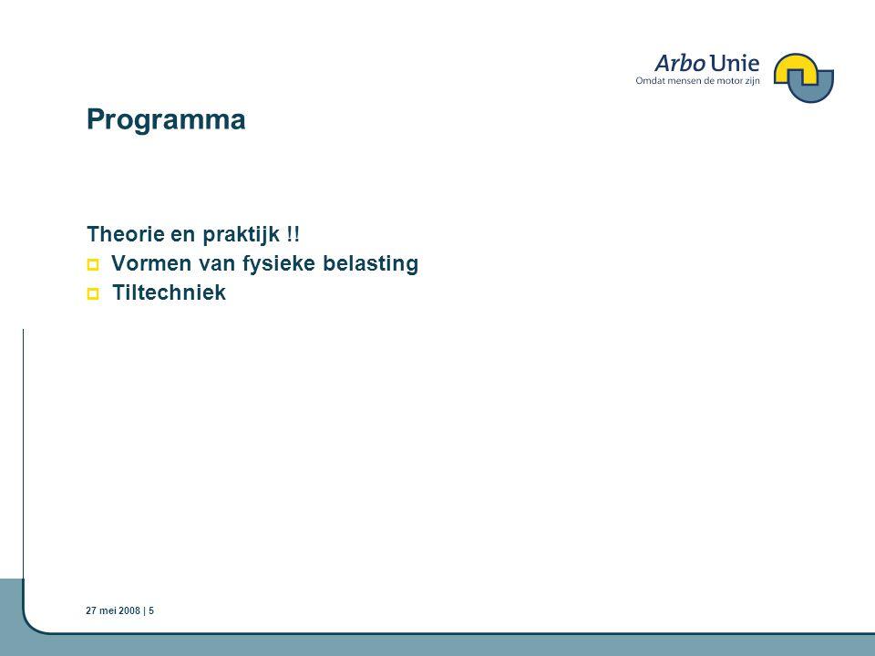 Programma Theorie en praktijk !! Vormen van fysieke belasting