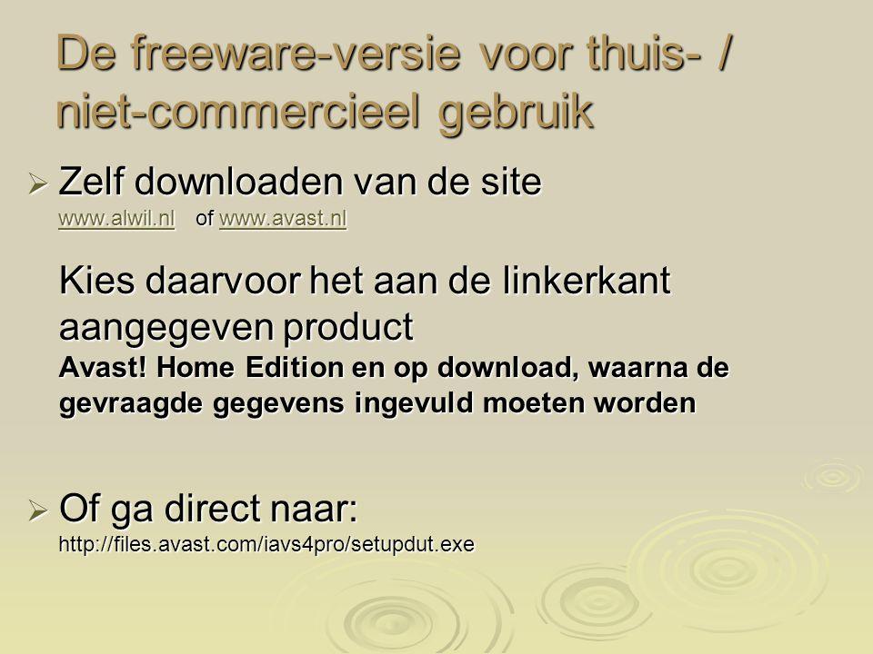 De freeware-versie voor thuis- / niet-commercieel gebruik