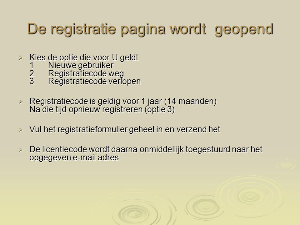 De registratie pagina wordt geopend