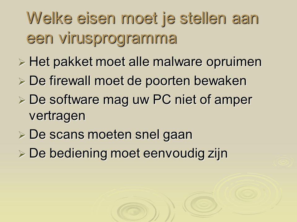 Welke eisen moet je stellen aan een virusprogramma