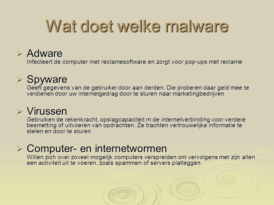 Wat doet welke malware Adware Infecteert de computer met reclamesoftware en zorgt voor pop-ups met reclame.