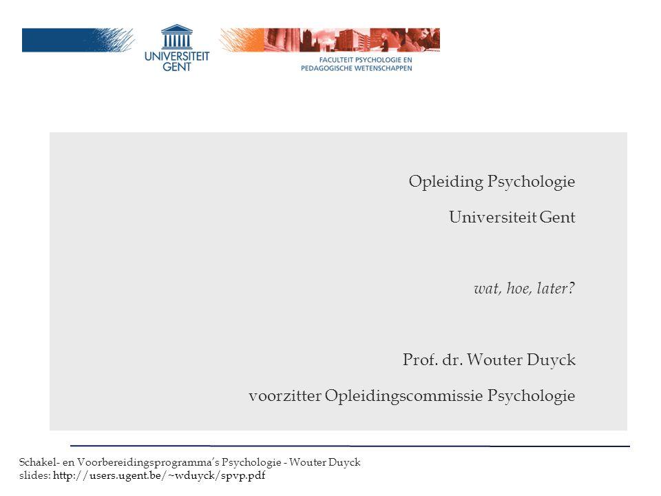 Opleiding Psychologie Universiteit Gent