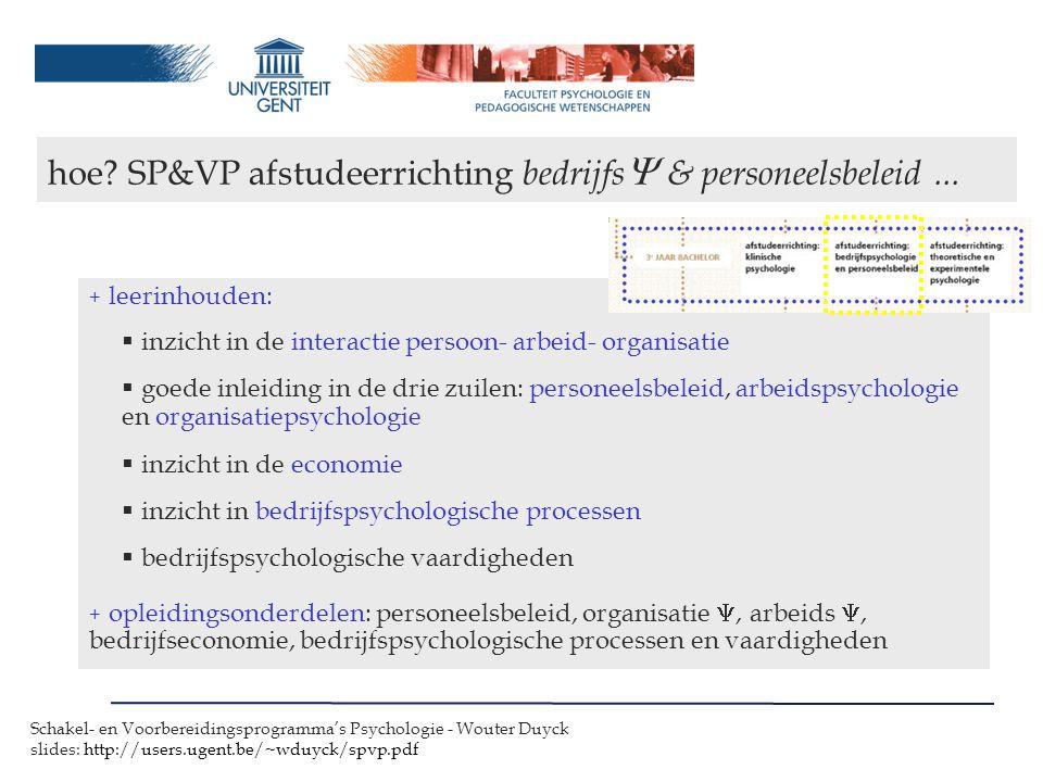 hoe SP&VP afstudeerrichting bedrijfs & personeelsbeleid ...