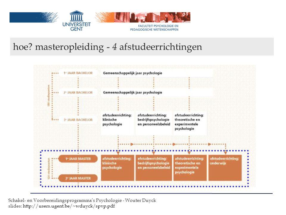 hoe masteropleiding - 4 afstudeerrichtingen