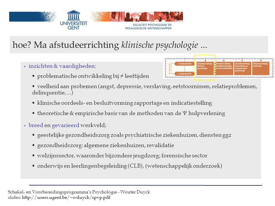 hoe Ma afstudeerrichting klinische psychologie ...