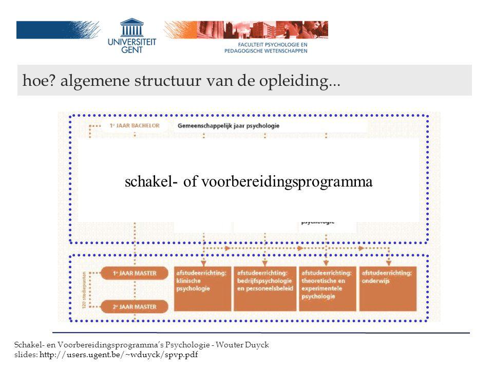 hoe algemene structuur van de opleiding...