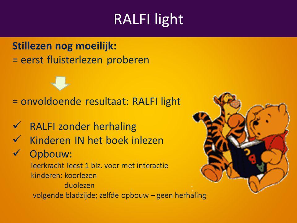 RALFI light Stillezen nog moeilijk: = eerst fluisterlezen proberen