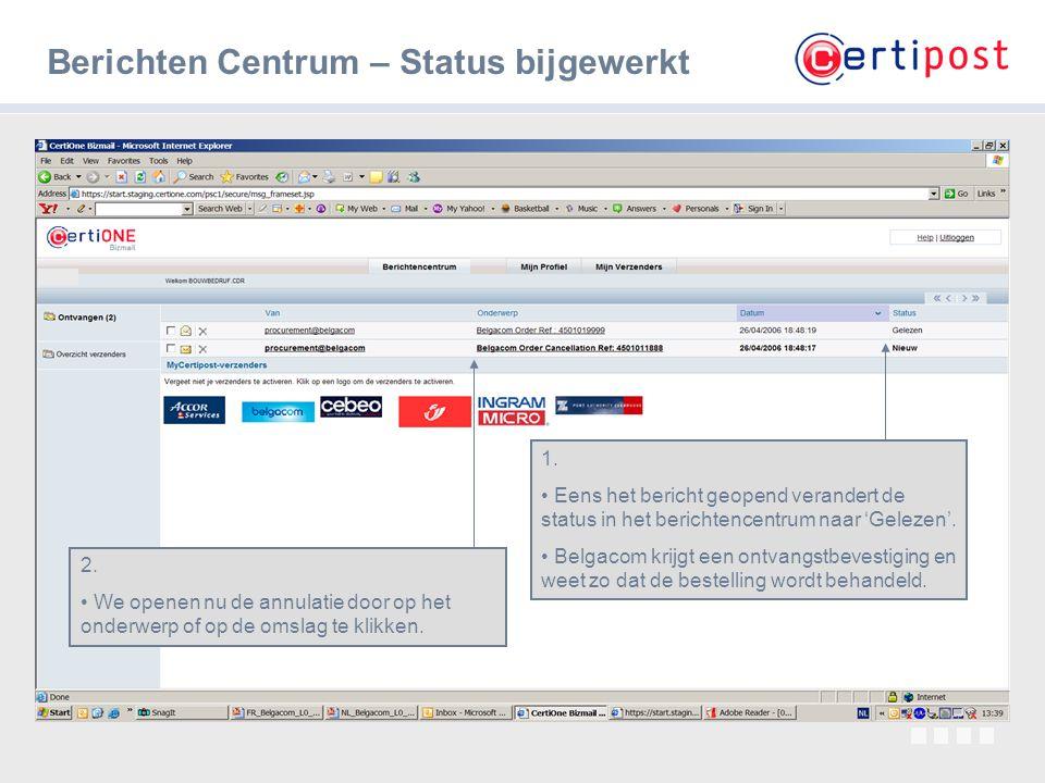 Berichten Centrum – Status bijgewerkt