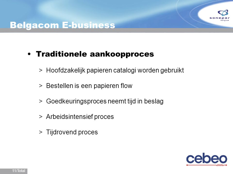 Belgacom E-business Traditionele aankoopproces