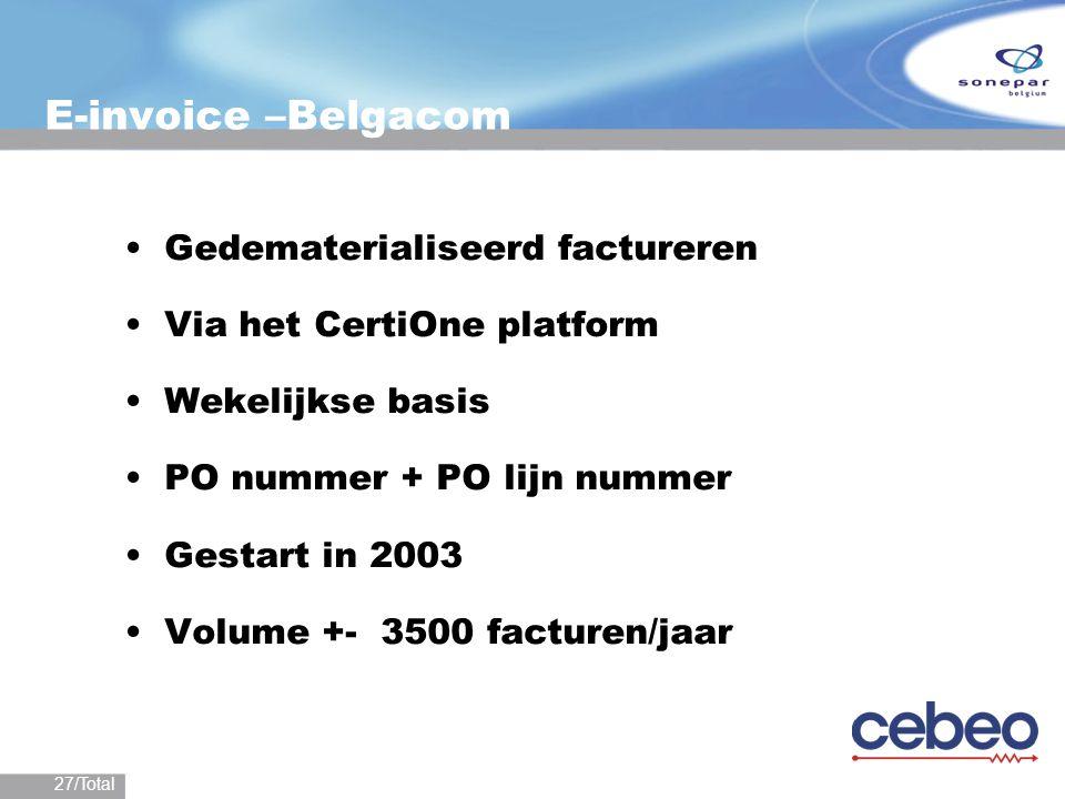E-invoice –Belgacom Gedematerialiseerd factureren