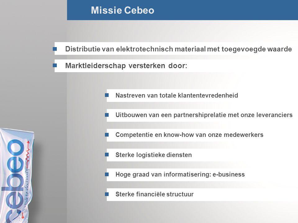 Missie Cebeo Marktleiderschap versterken door: