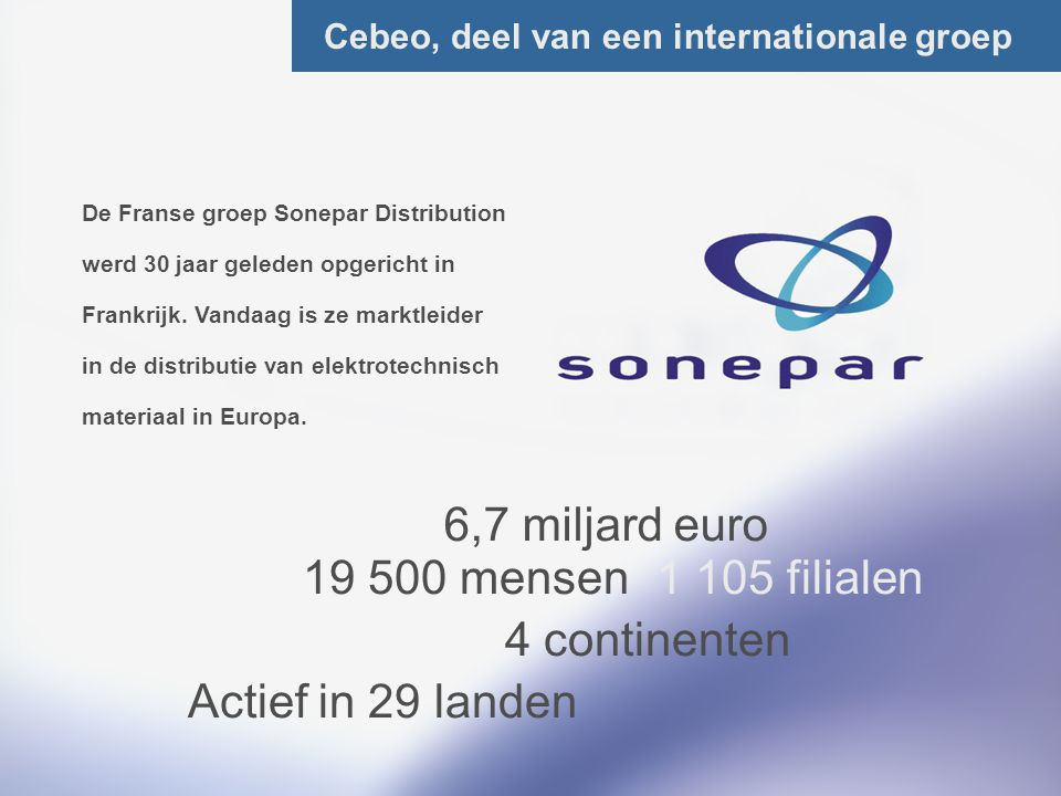 6,7 miljard euro 19 500 mensen 1 105 filialen 4 continenten