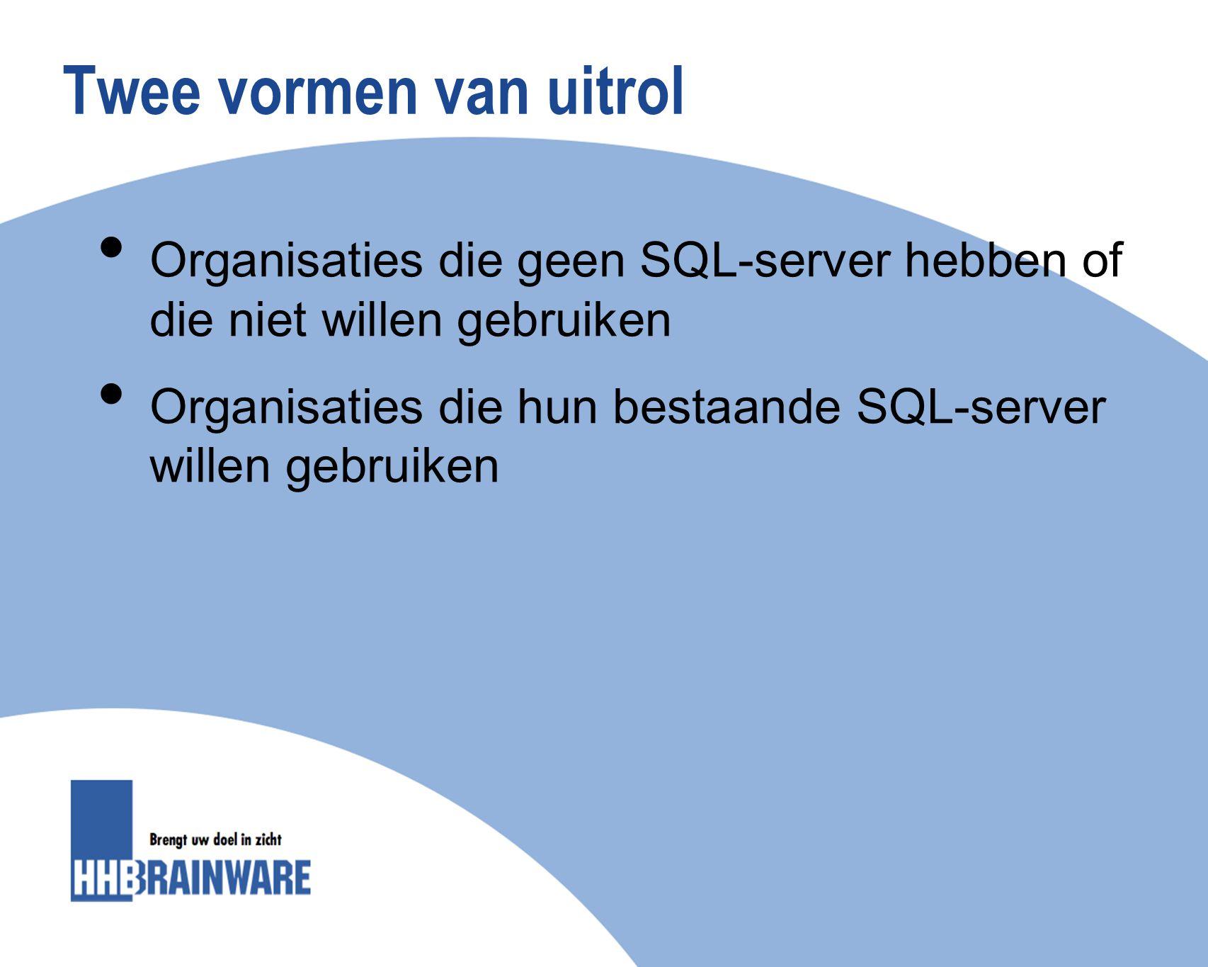 Twee vormen van uitrol Organisaties die geen SQL-server hebben of die niet willen gebruiken.