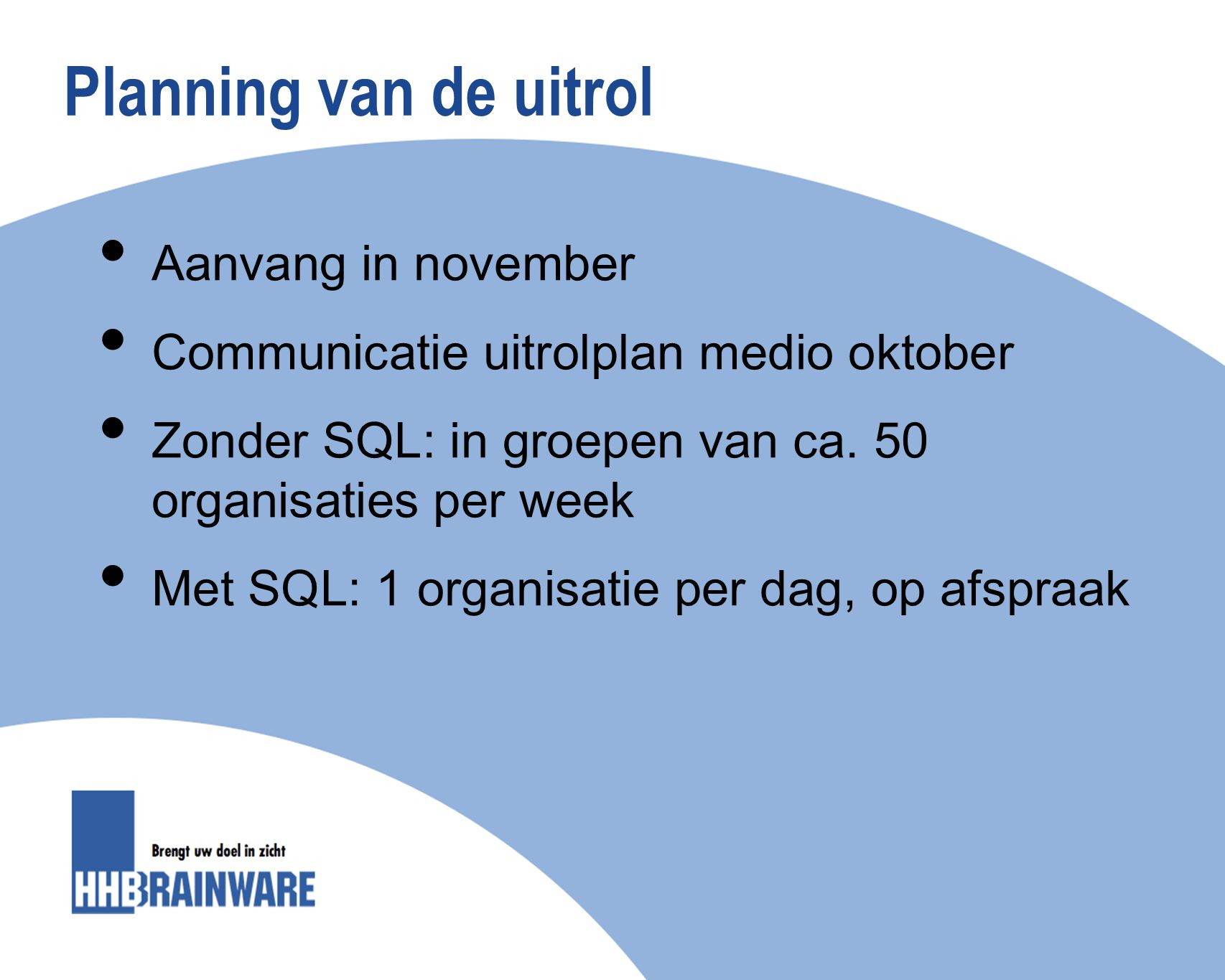 Planning van de uitrol Aanvang in november