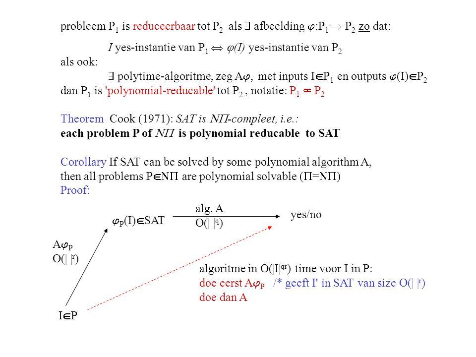 probleem P1 is reduceerbaar tot P2 als  afbeelding :P1  P2 zo dat: