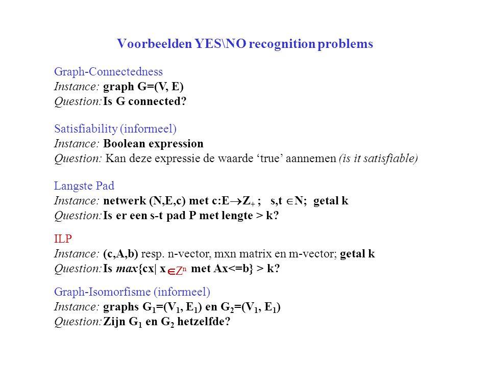 Voorbeelden YES\NO recognition problems