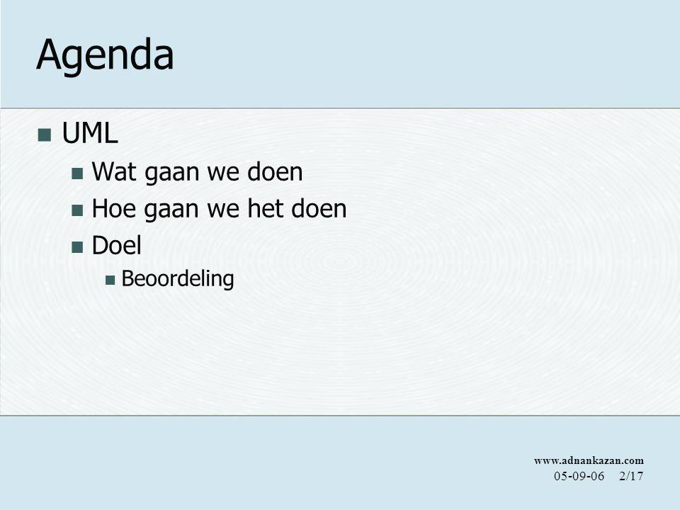Agenda UML Wat gaan we doen Hoe gaan we het doen Doel Beoordeling