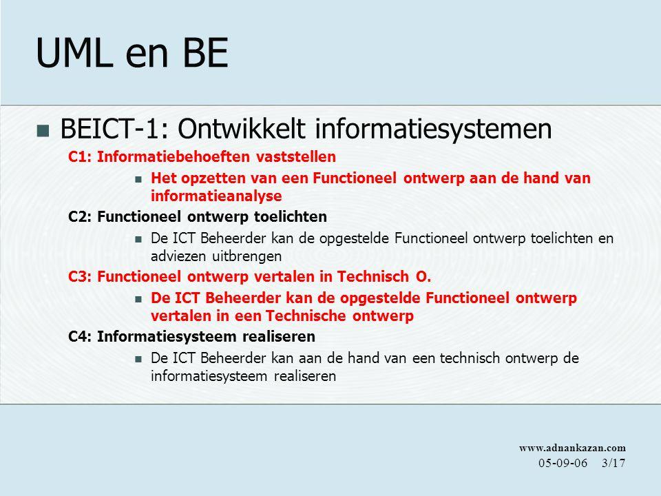 UML en BE BEICT-1: Ontwikkelt informatiesystemen