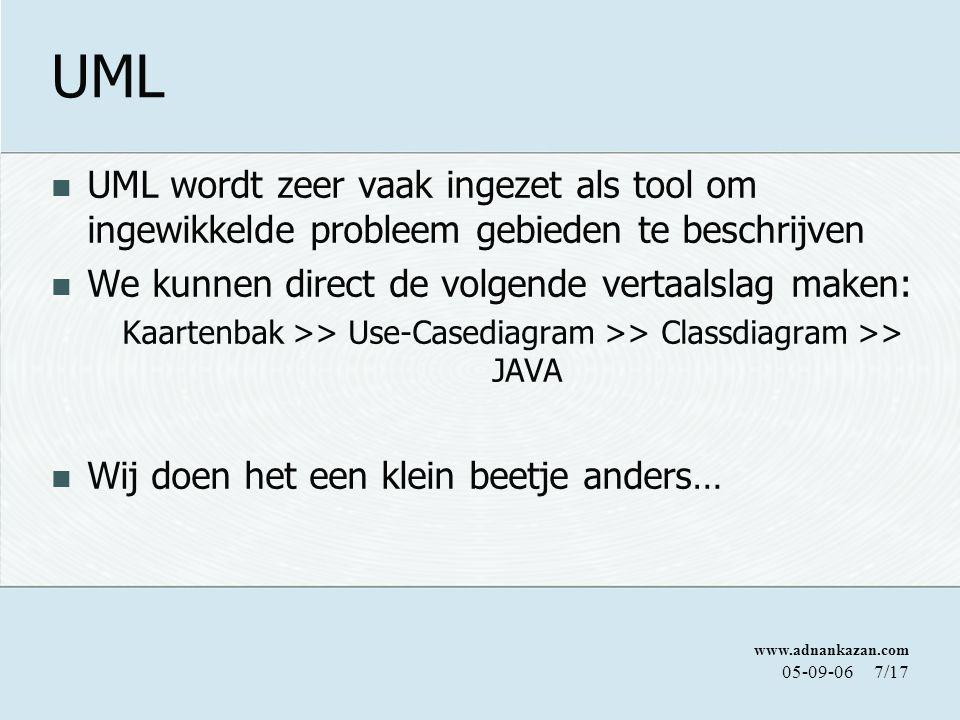 UML UML wordt zeer vaak ingezet als tool om ingewikkelde probleem gebieden te beschrijven. We kunnen direct de volgende vertaalslag maken: