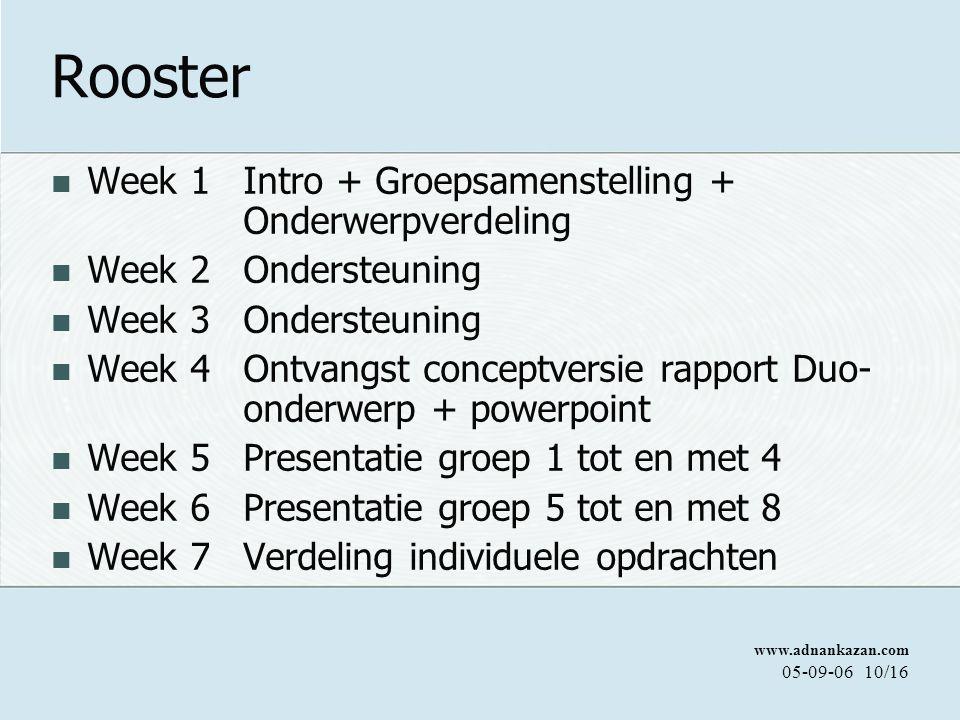 Rooster Week 1 Intro + Groepsamenstelling + Onderwerpverdeling