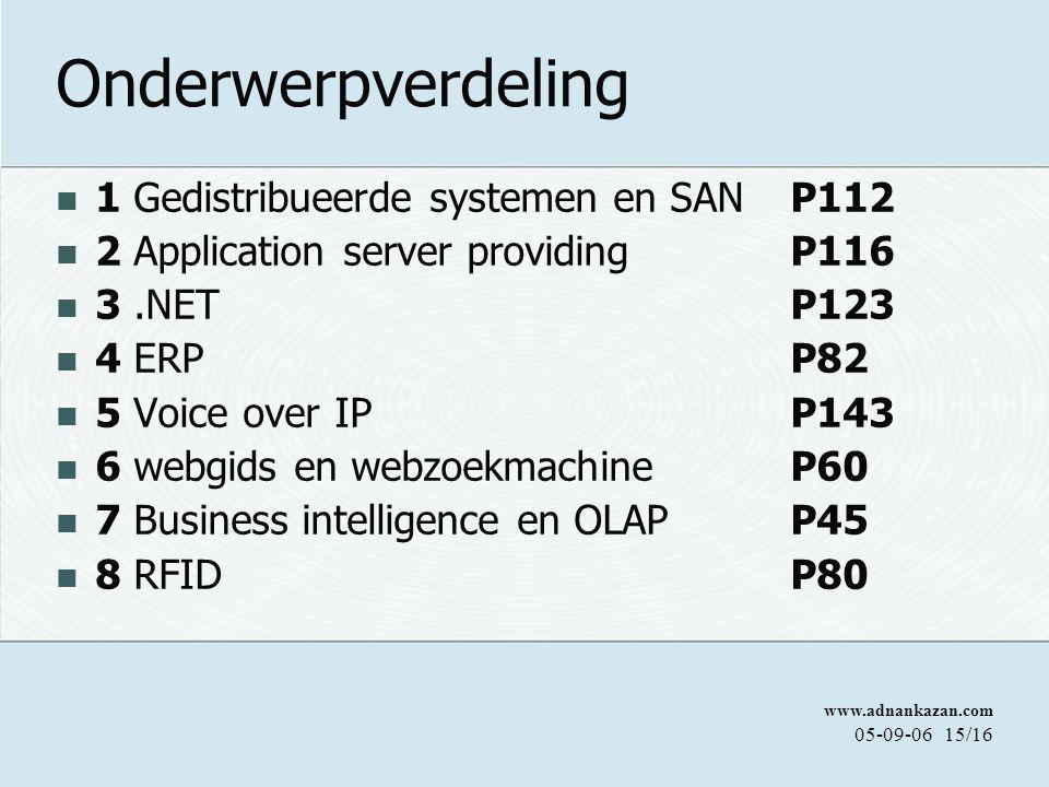Onderwerpverdeling 1 Gedistribueerde systemen en SAN P112