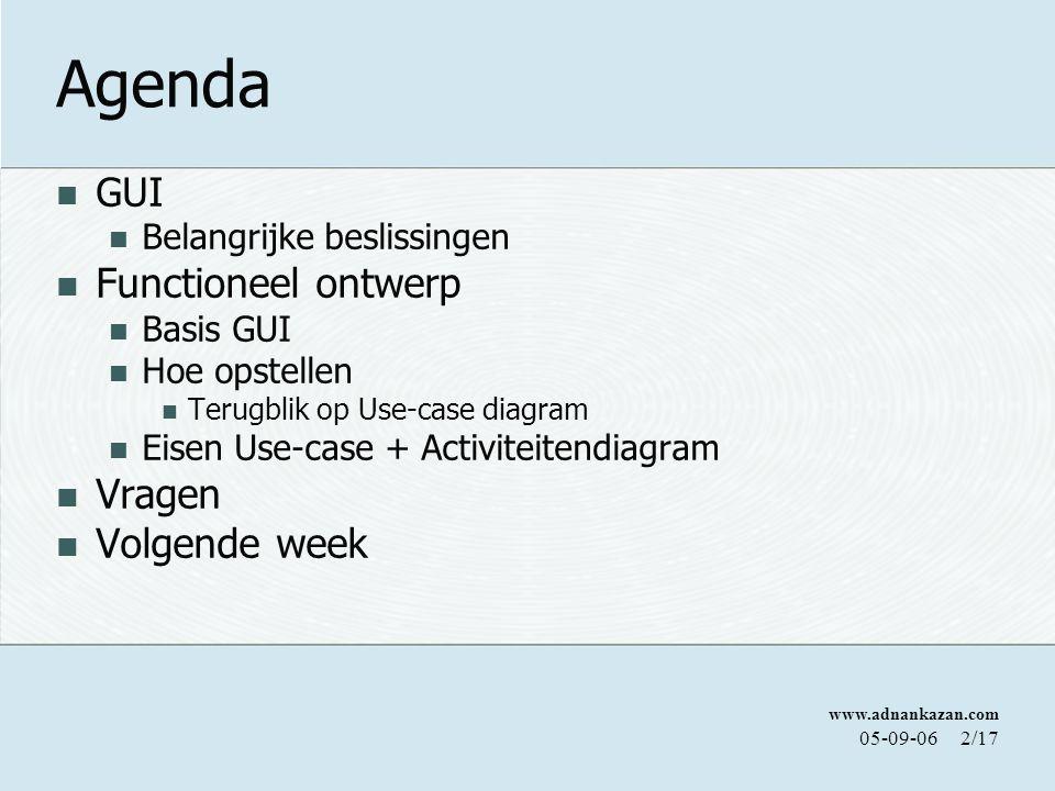 Agenda Functioneel ontwerp Vragen Volgende week GUI