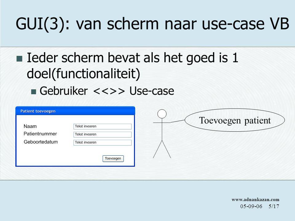 GUI(3): van scherm naar use-case VB