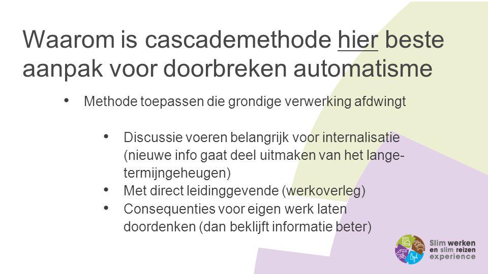 Waarom is cascademethode hier beste aanpak voor doorbreken automatisme