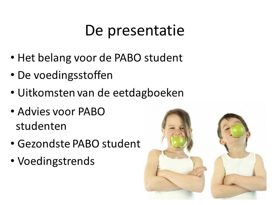De presentatie Het belang voor de PABO student De voedingsstoffen