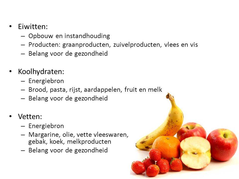 Eiwitten: Koolhydraten: Vetten: Opbouw en instandhouding