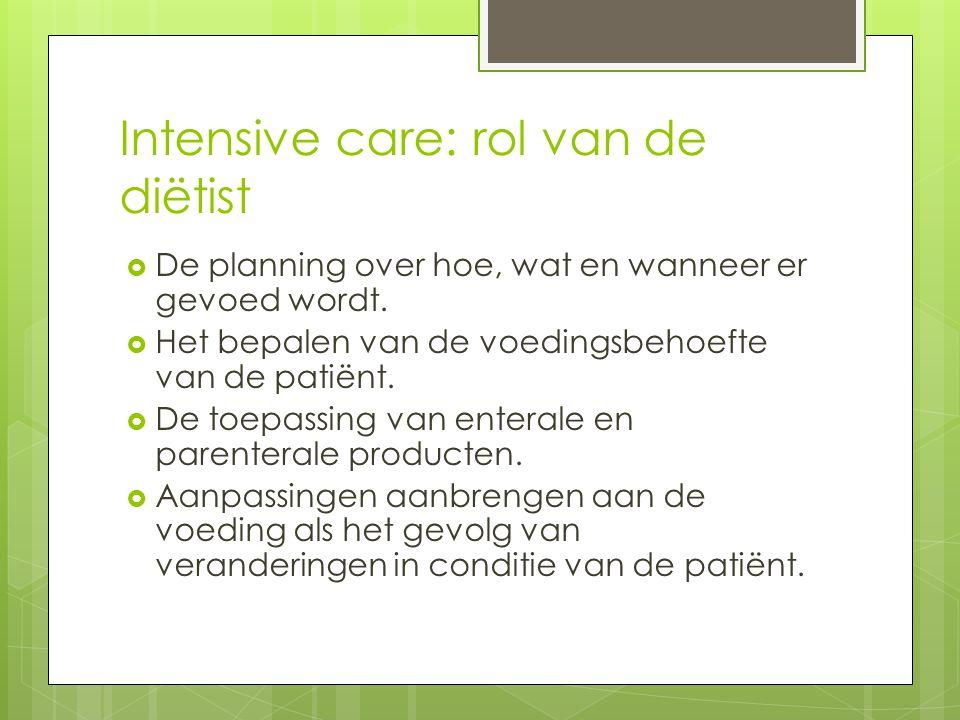 Intensive care: rol van de diëtist