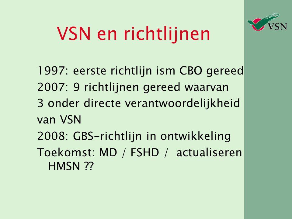 VSN en richtlijnen 1997: eerste richtlijn ism CBO gereed