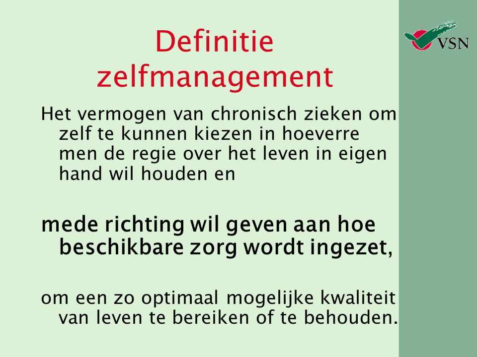 Definitie zelfmanagement
