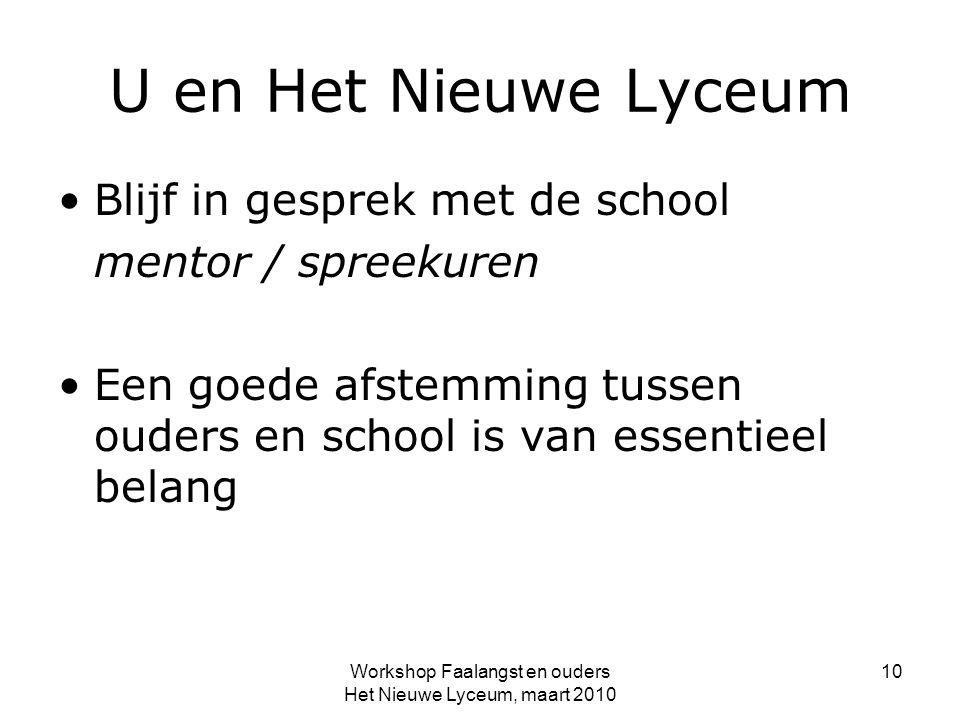 Workshop Faalangst en ouders Het Nieuwe Lyceum, maart 2010