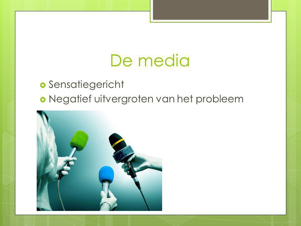 De media Sensatiegericht Negatief uitvergroten van het probleem
