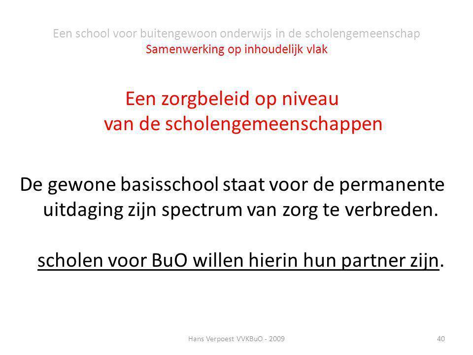 Een school voor buitengewoon onderwijs in de scholengemeenschap Samenwerking op inhoudelijk vlak